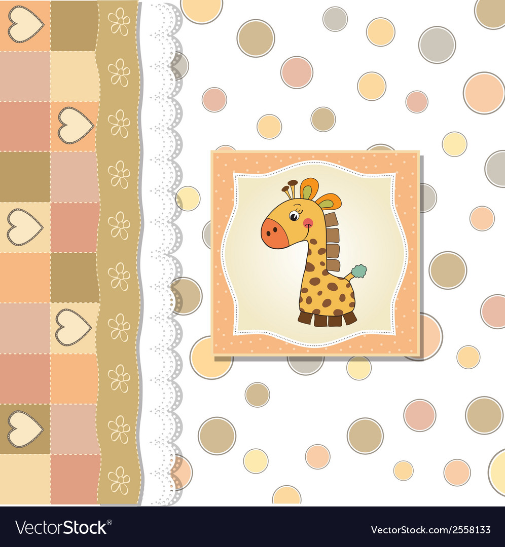 New baby announcement card with giraffe vector   Price: 1 Credit (USD $1)