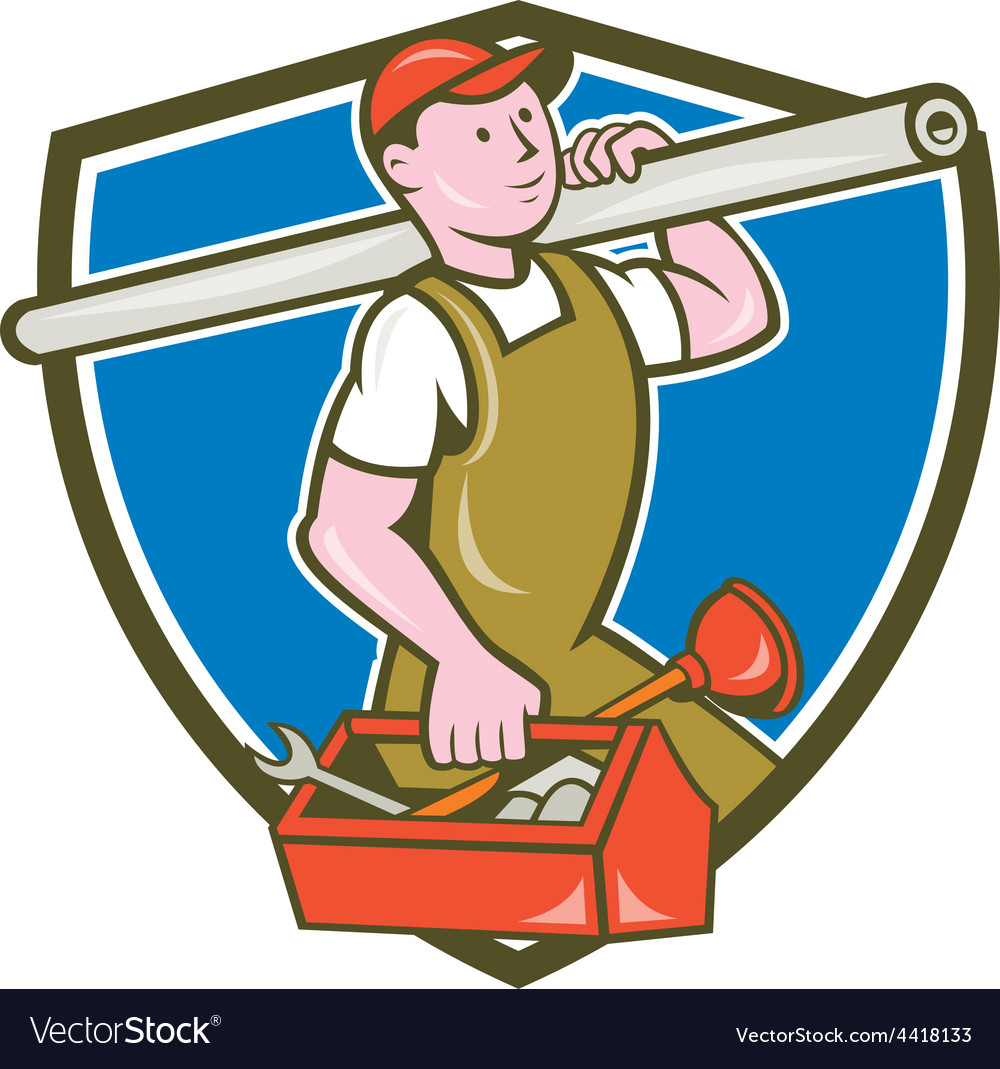 Plumber carrying pipe toolbox crest cartoon vector | Price: 1 Credit (USD $1)