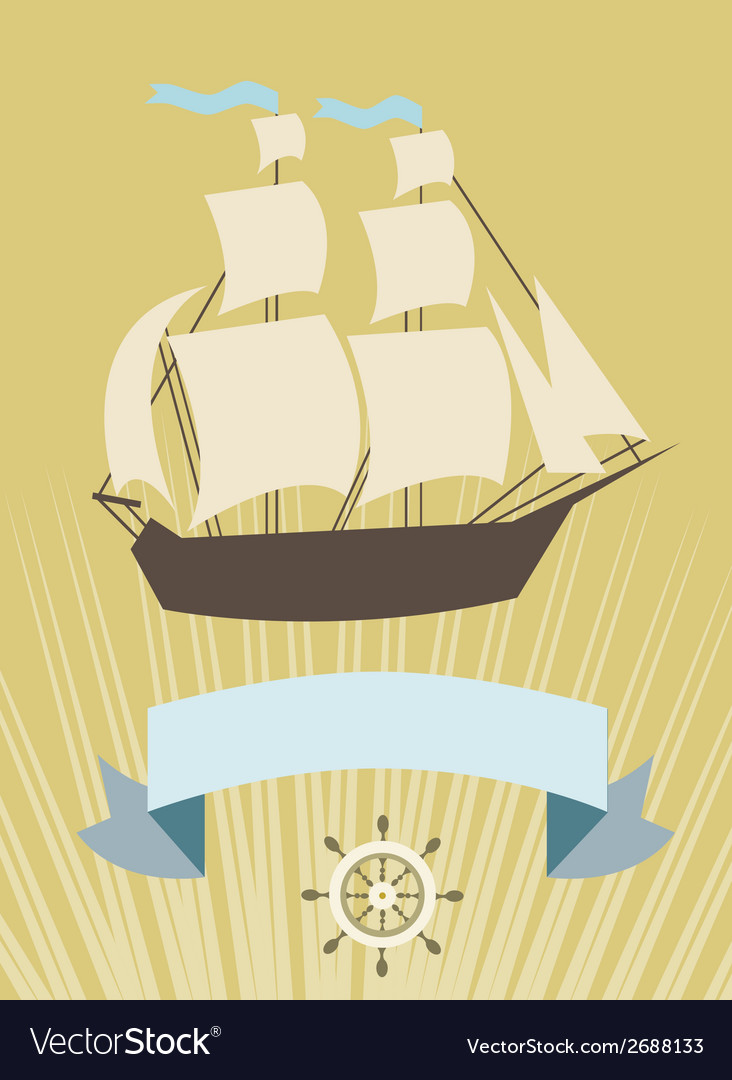 Sailboat with banner for your message vector | Price: 1 Credit (USD $1)