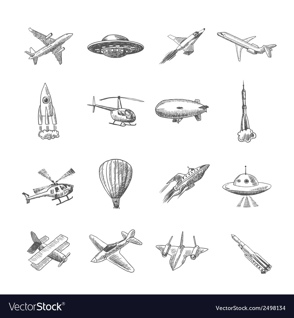 Aircraft icons sketch vector | Price: 1 Credit (USD $1)