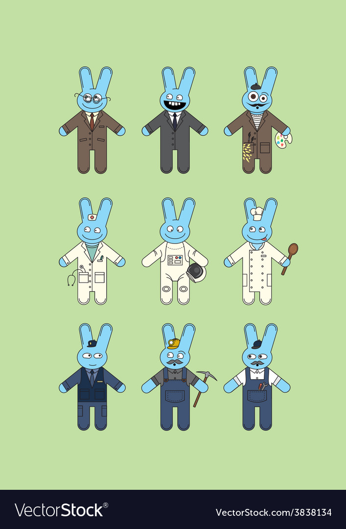 Blue bunnies vector | Price: 1 Credit (USD $1)