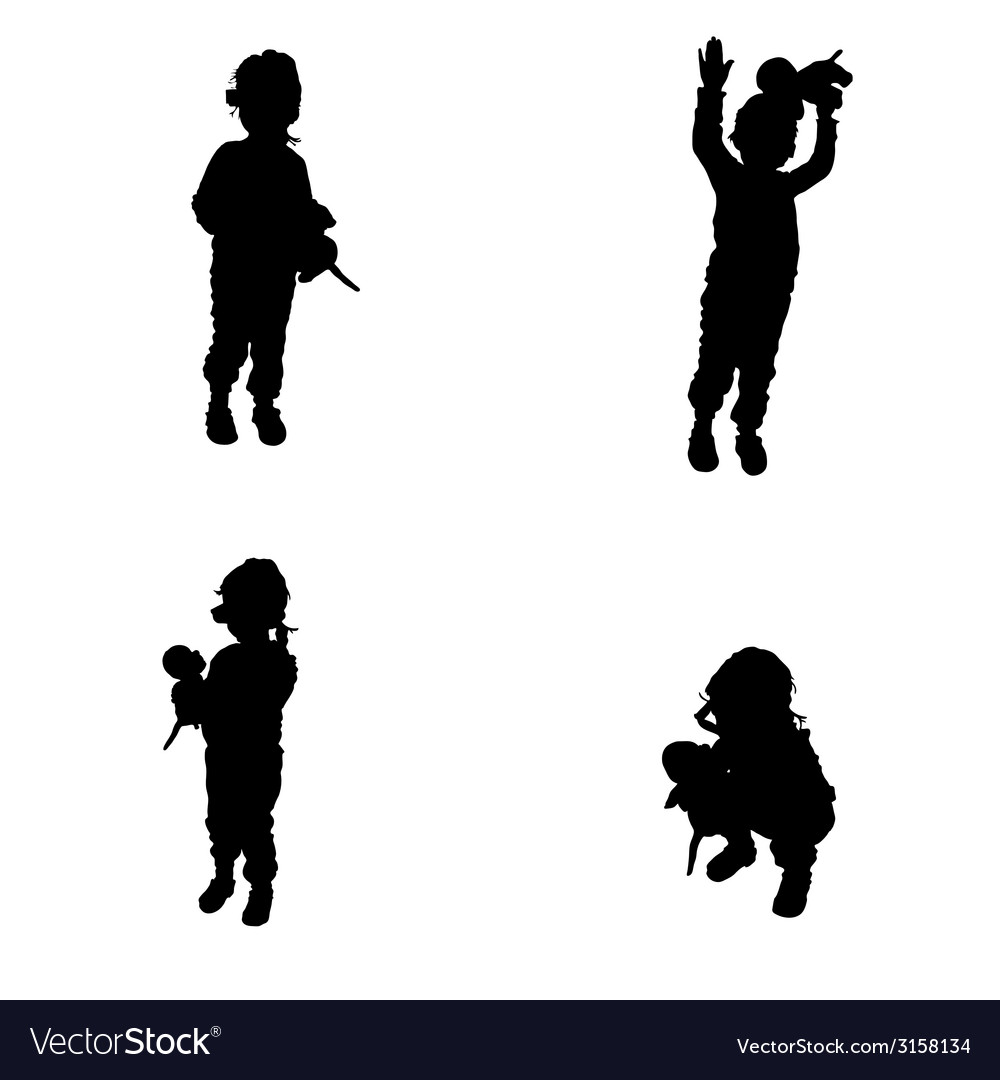 Child posing with a toy in his hand silhouette vector | Price: 1 Credit (USD $1)