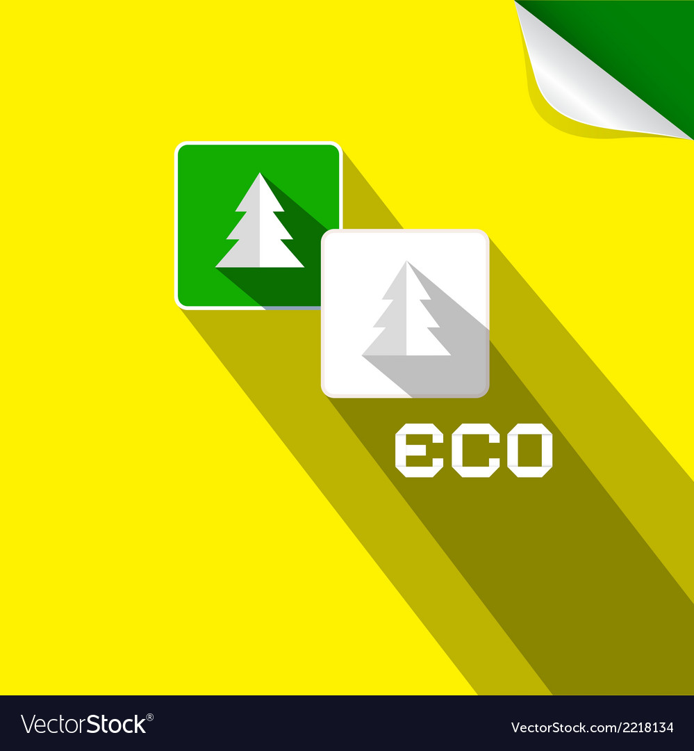 Eco paper cut trees symbols on yellow background vector | Price: 1 Credit (USD $1)