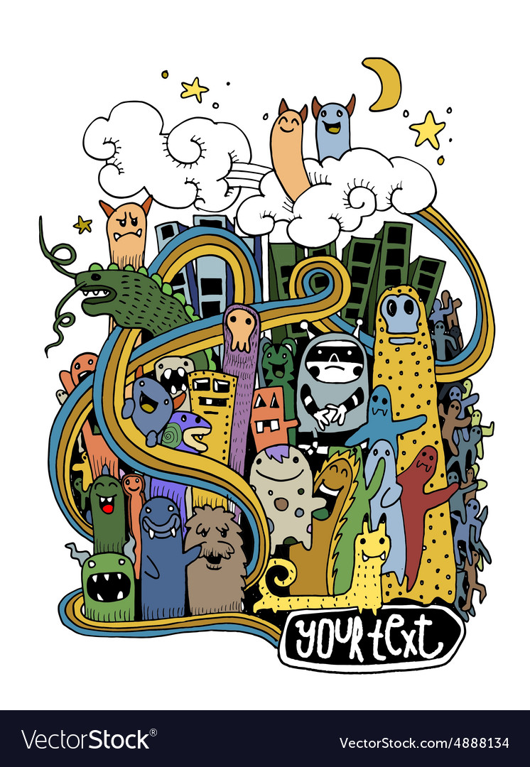 Hand drawn crazy doodle monster city vector