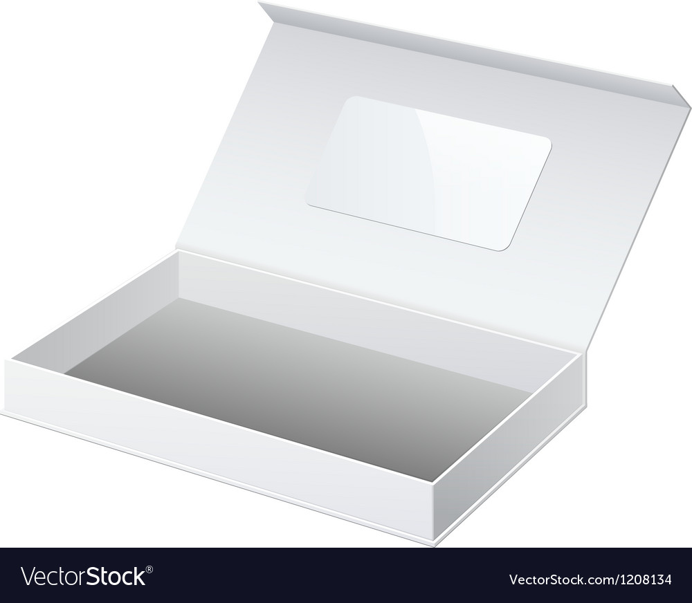 Realistic white package cardboard box opened for vector | Price: 1 Credit (USD $1)