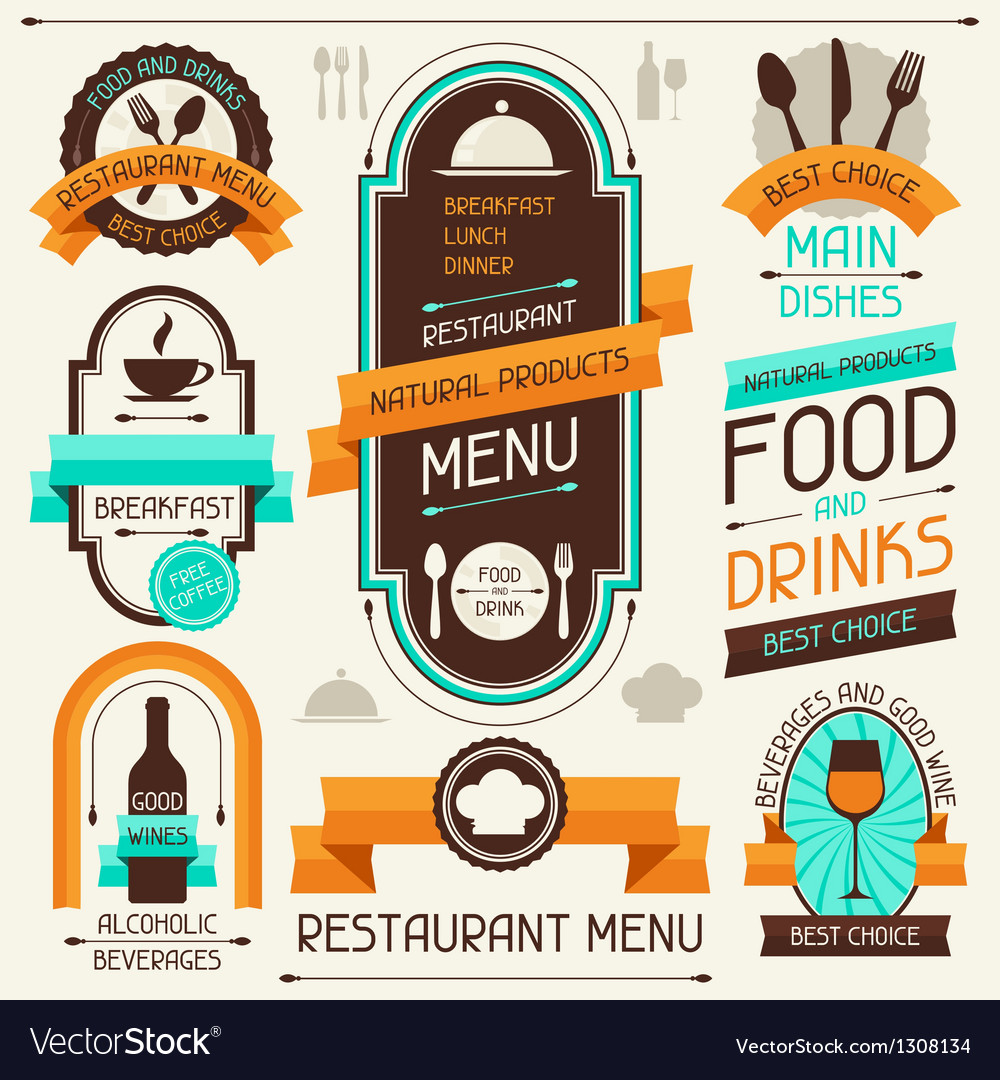 Restaurant menu banners and ribbons design vector | Price: 3 Credit (USD $3)