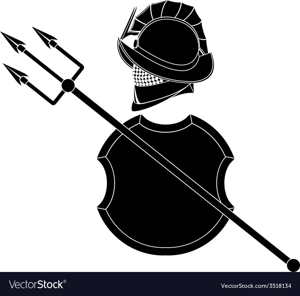 Stencil of gladiators helmet with trident vector | Price: 1 Credit (USD $1)