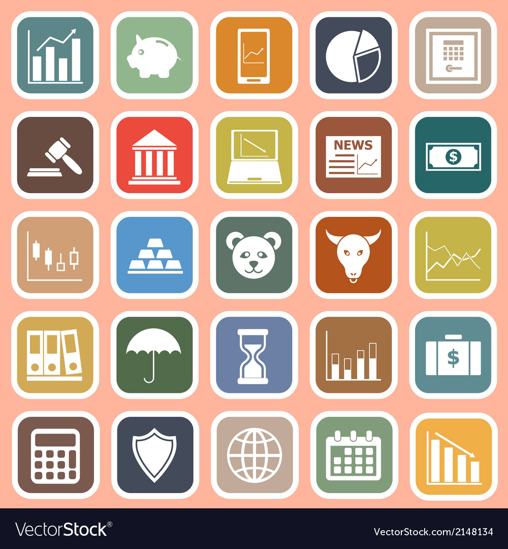 Stock market flat icons on red background vector | Price: 1 Credit (USD $1)