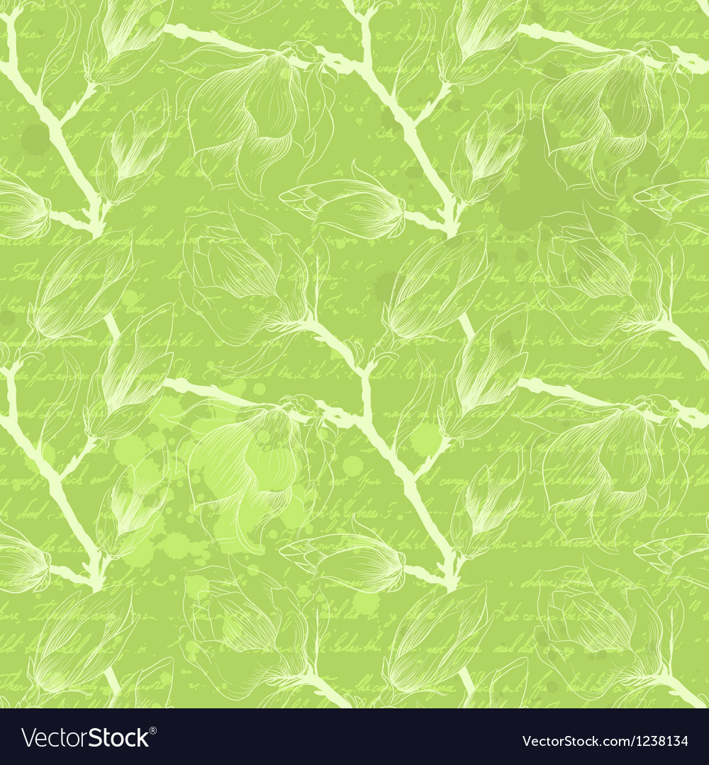 Vintage green seamless pattern with magnolia vector | Price: 1 Credit (USD $1)
