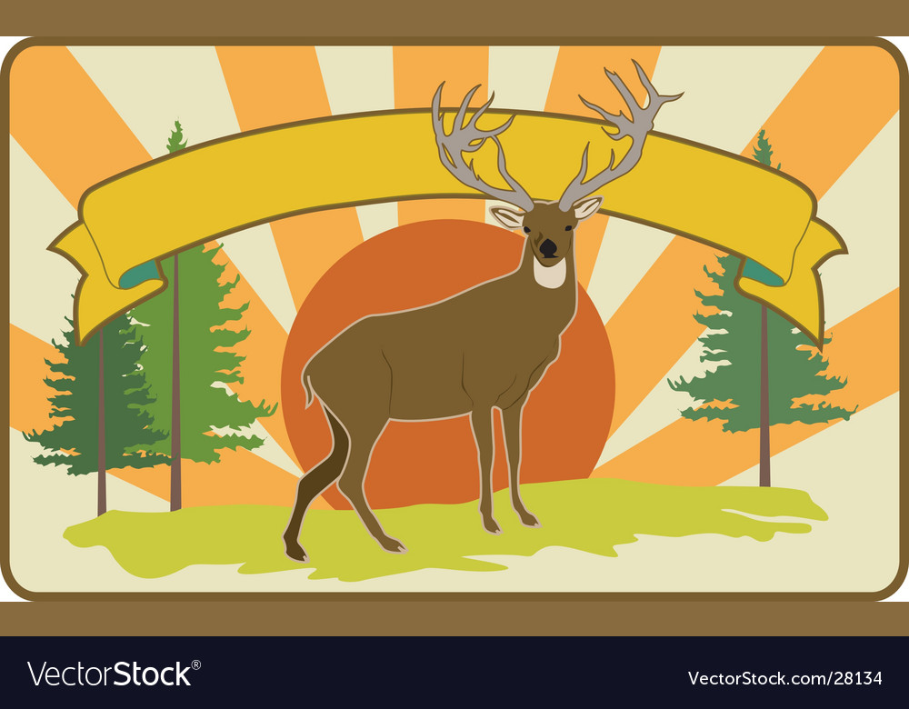 Vintage stag label vector | Price: 1 Credit (USD $1)
