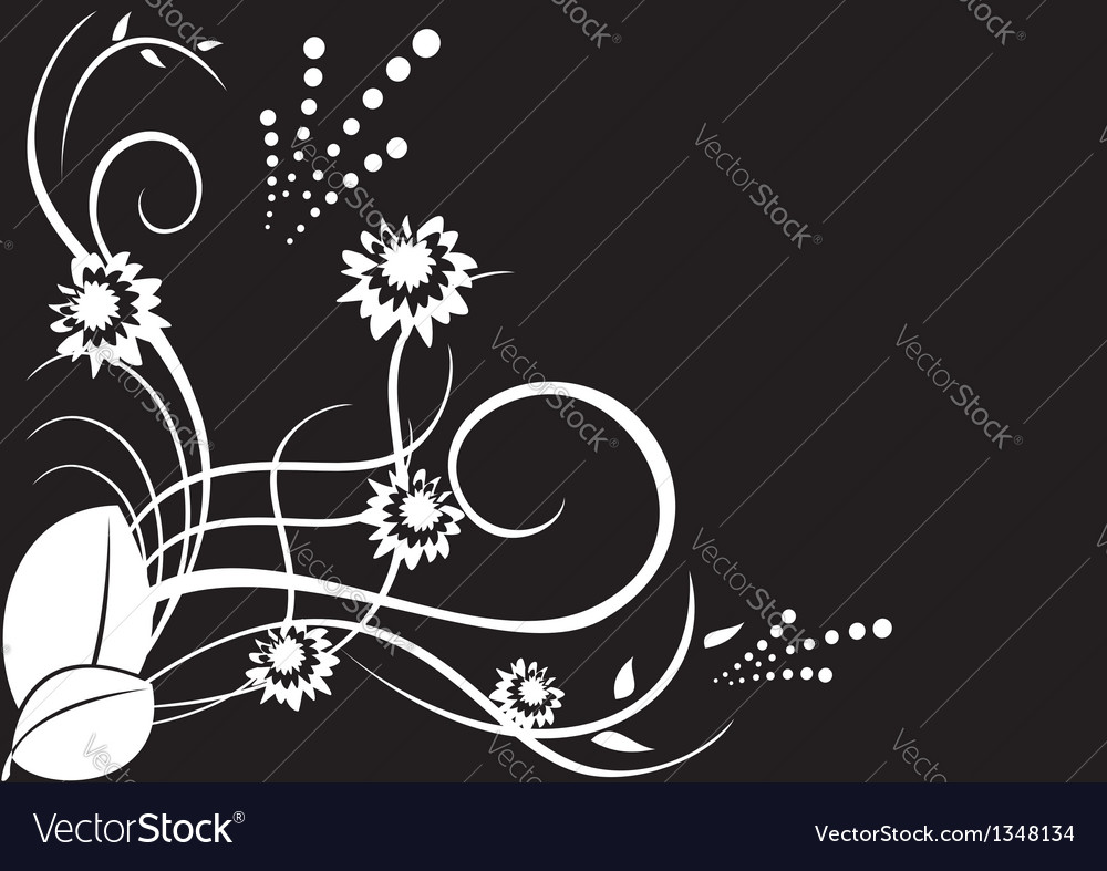 White flora on black background vector | Price: 1 Credit (USD $1)