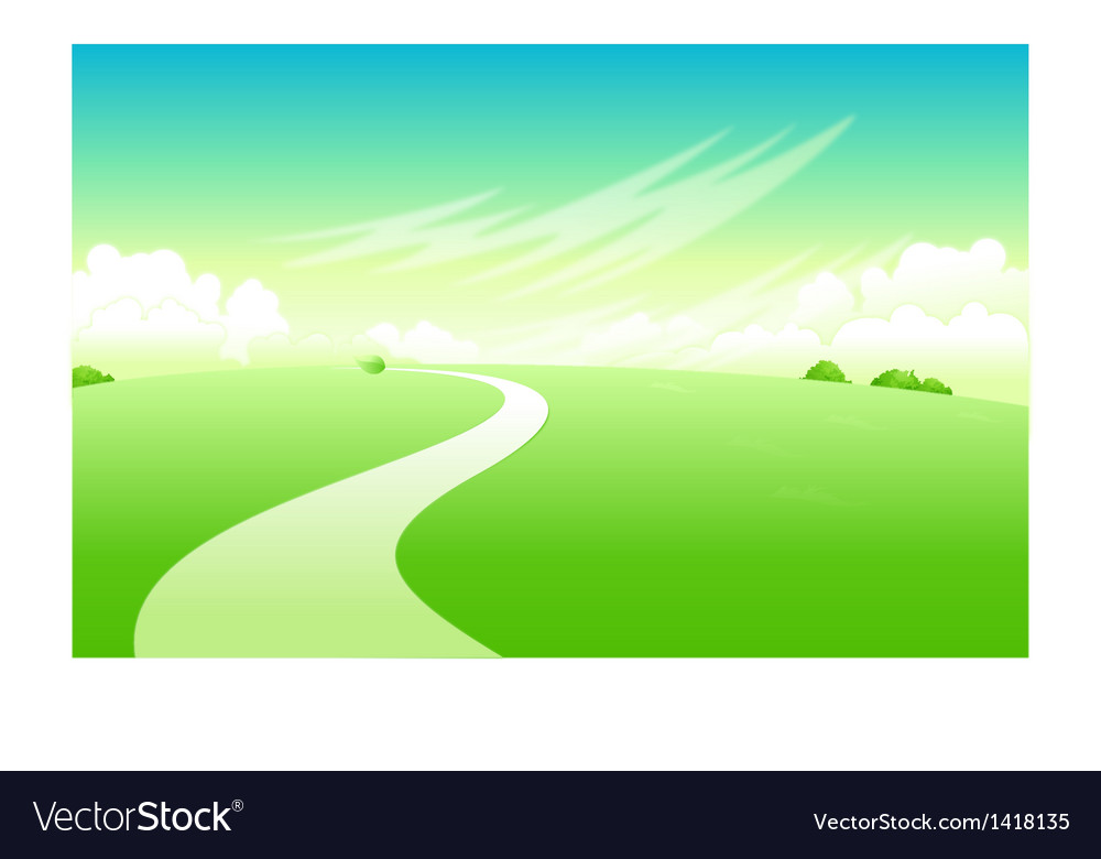 Curved path over green landscape vector | Price: 1 Credit (USD $1)