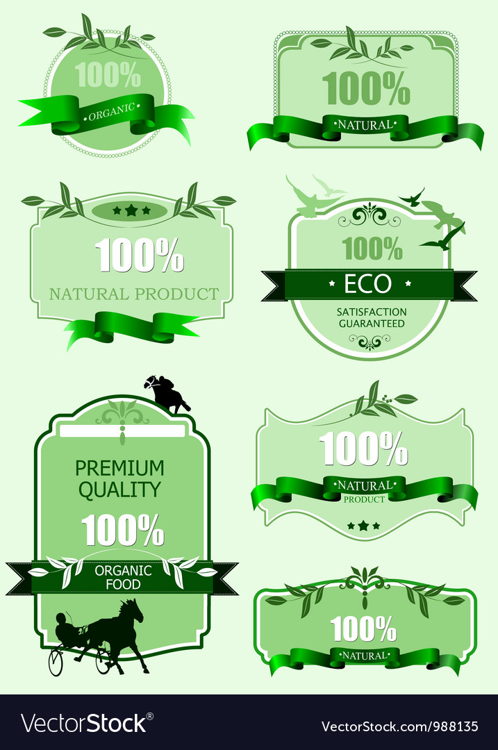 Eco labels and stickers vector | Price: 1 Credit (USD $1)