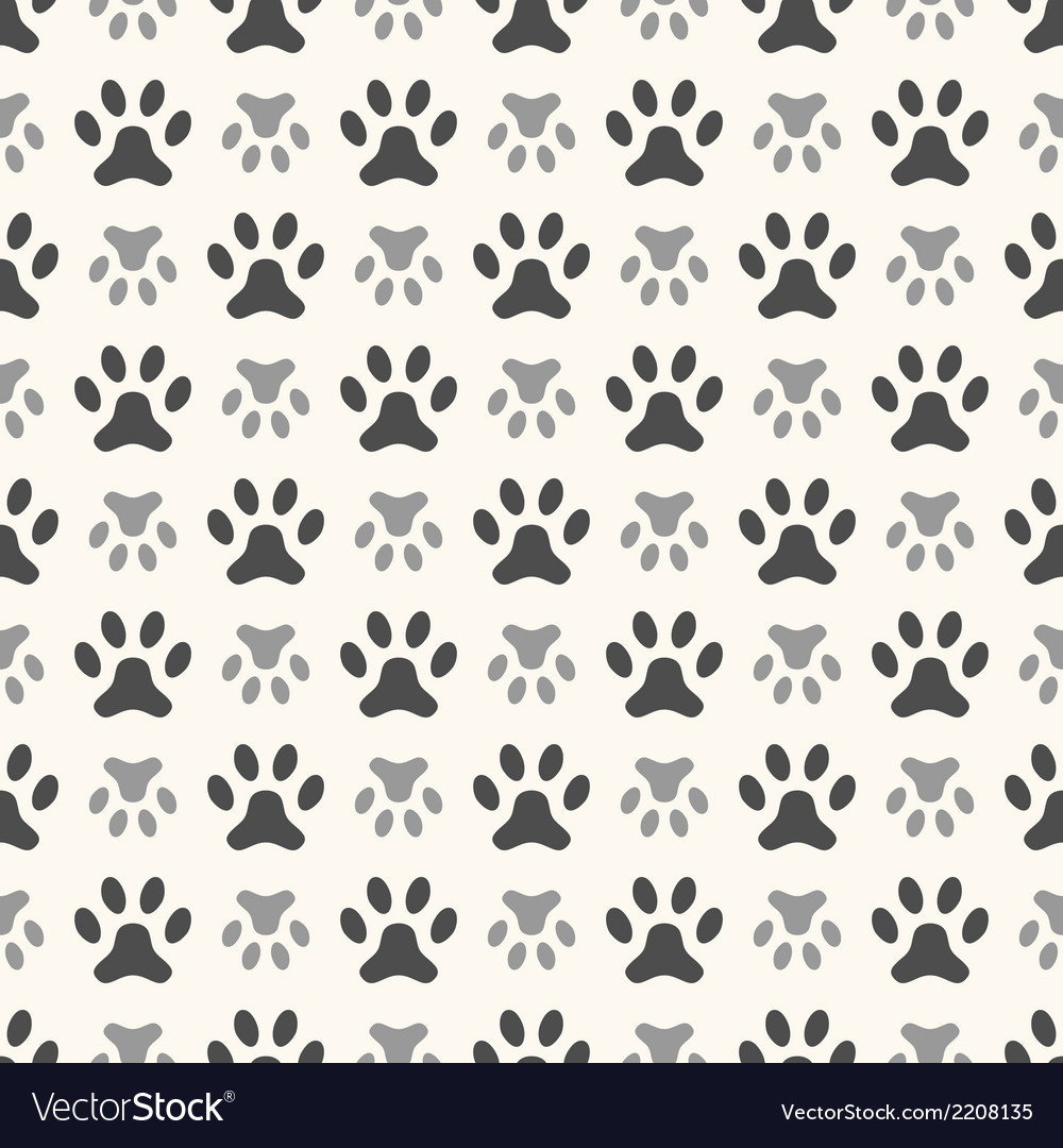 Seamless animal pattern of paw footprint endless vector | Price: 1 Credit (USD $1)