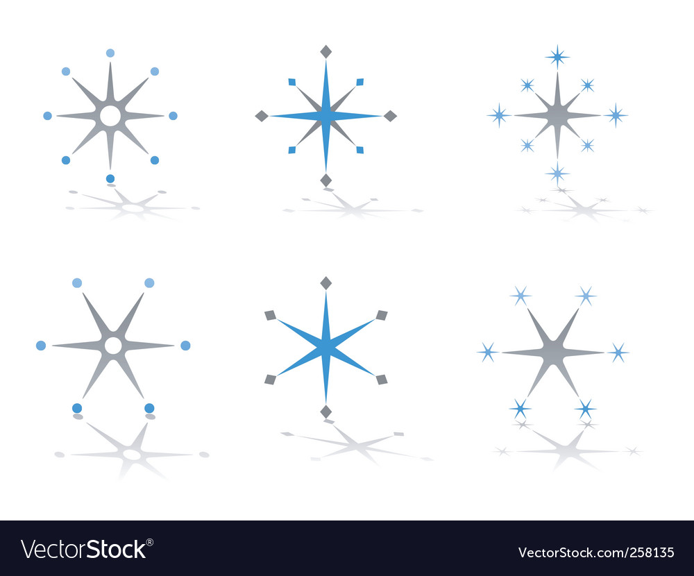 Star and snowflake design elements vector | Price: 1 Credit (USD $1)