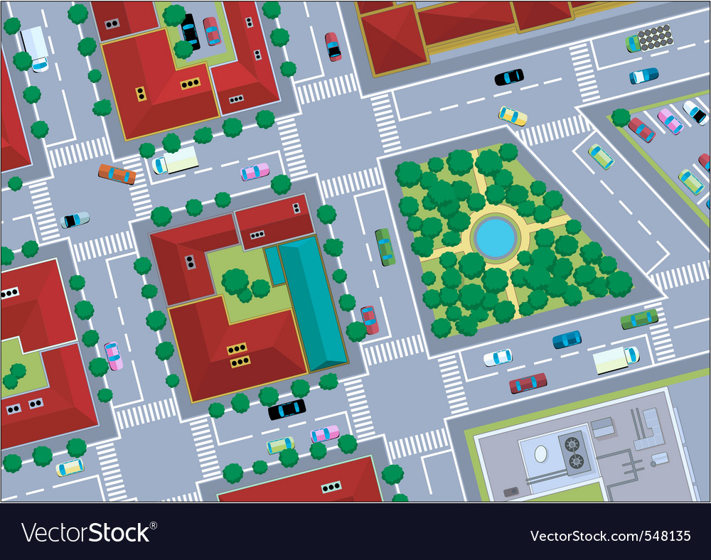 Urban landscape street vector | Price: 1 Credit (USD $1)