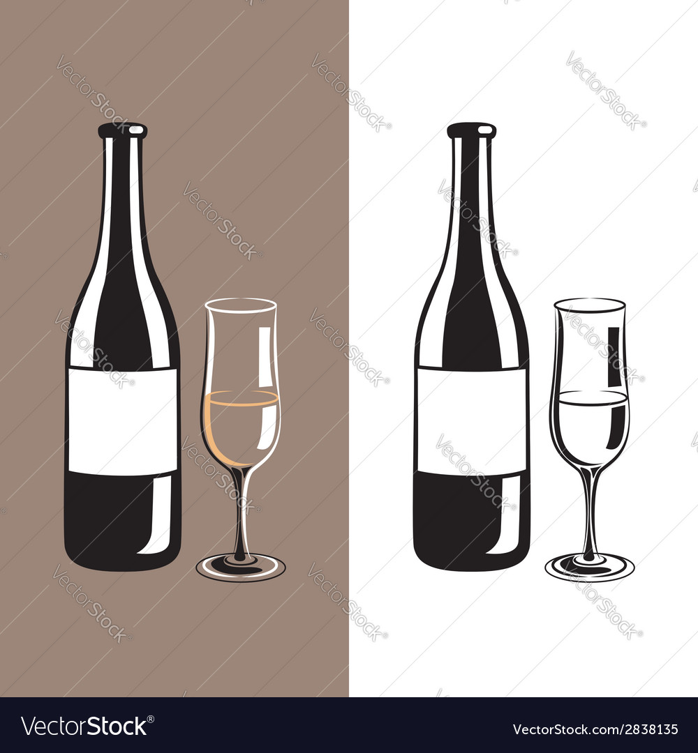 Wine glass and bottle of champagne vector | Price: 1 Credit (USD $1)