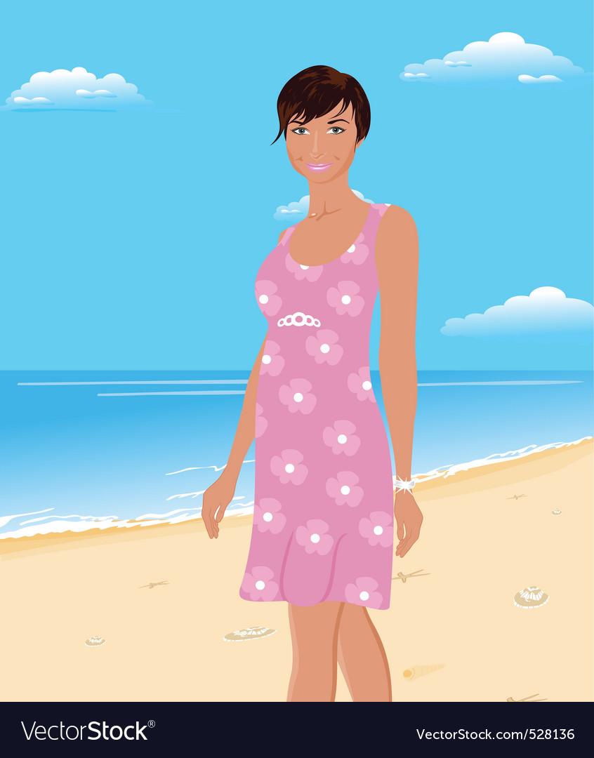 Beautifu girl on beach vector   Price: 1 Credit (USD $1)
