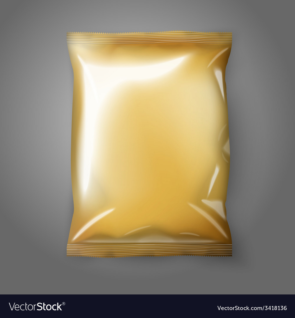 Blank golden realistic foil snack pack isolated vector | Price: 1 Credit (USD $1)