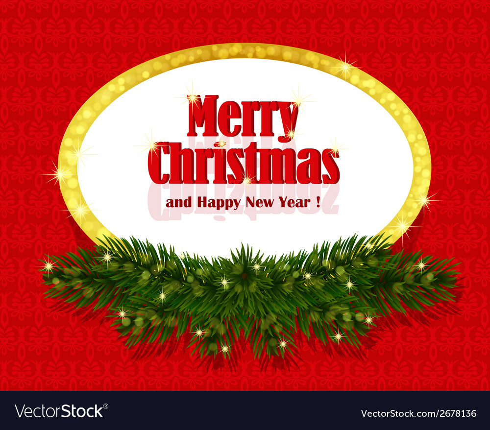 Christmas red background with sparkling frame vector | Price: 1 Credit (USD $1)