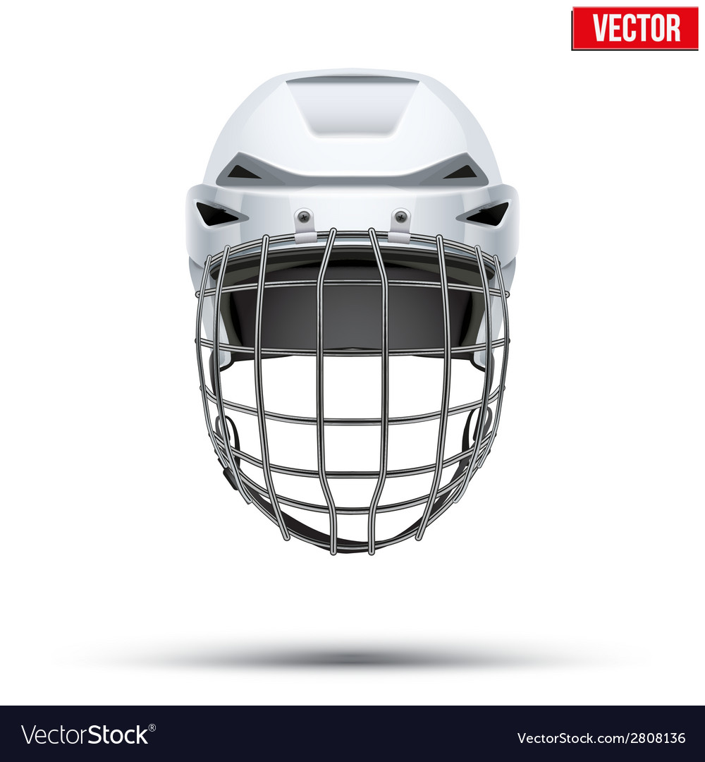 Classic white goalkeeper hockey helmet isolated on vector | Price: 1 Credit (USD $1)