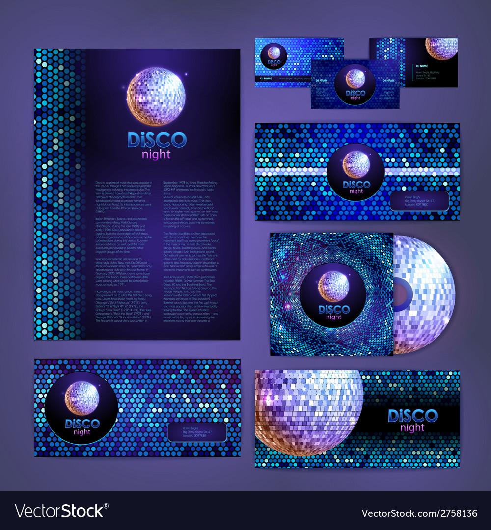 Corporate identity design disco background vector | Price: 1 Credit (USD $1)