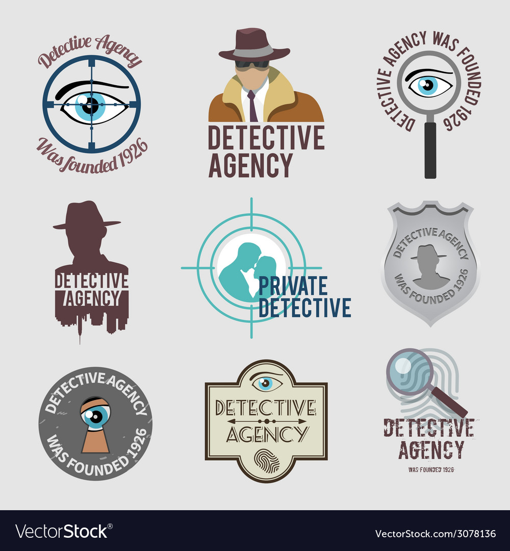 Detective label set vector | Price: 1 Credit (USD $1)