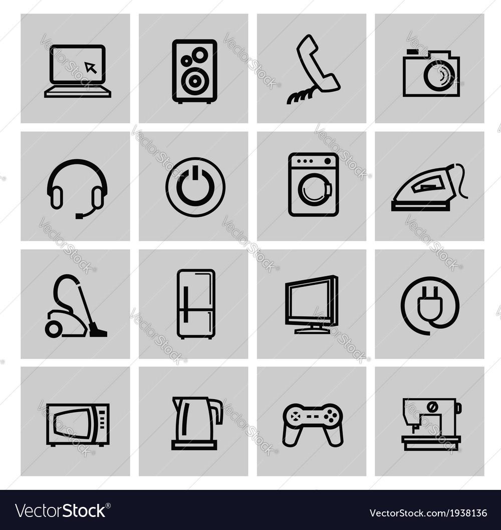 Electronics icon set vector | Price: 1 Credit (USD $1)