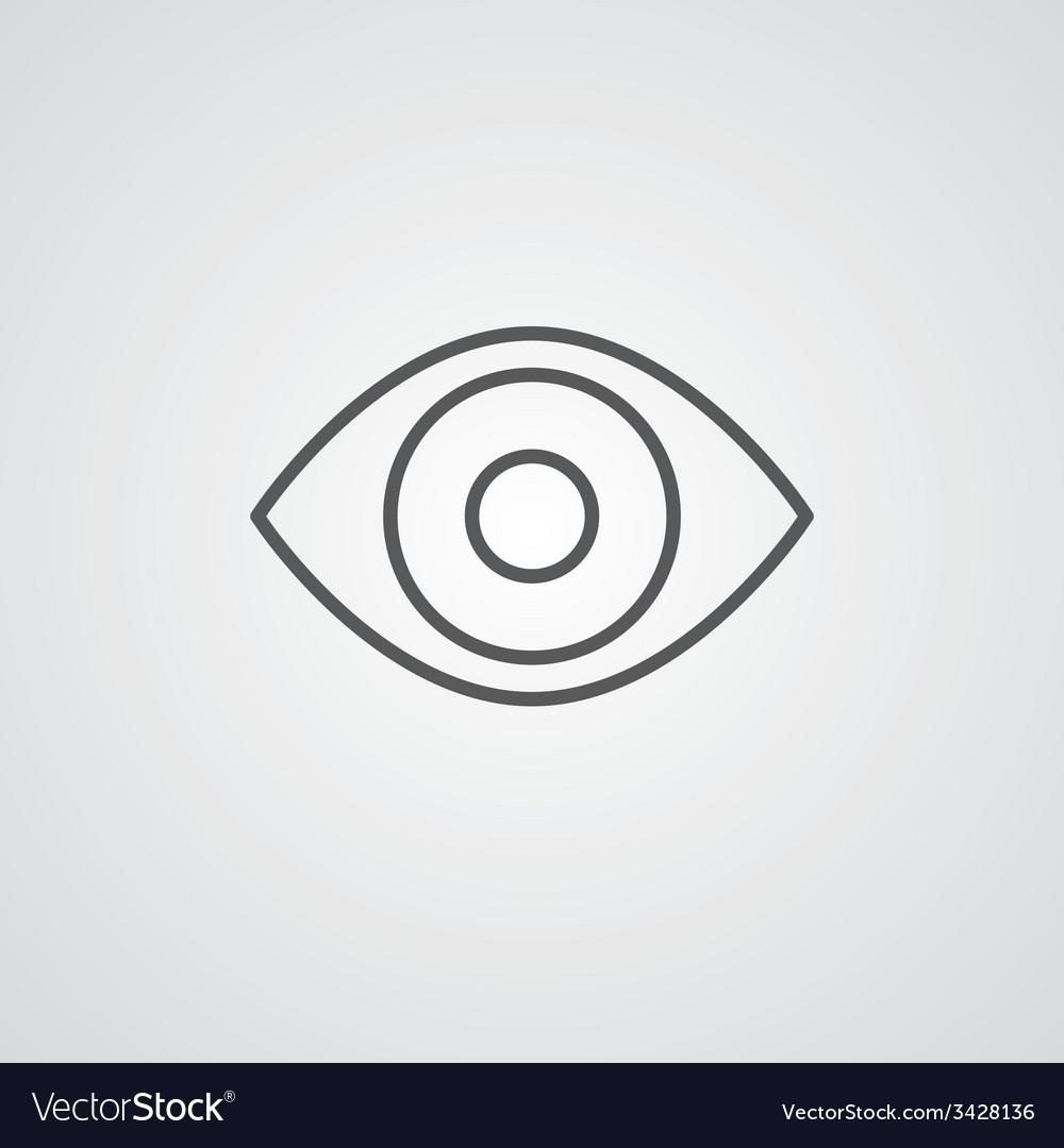 Eye outline symbol dark on white background logo vector | Price: 1 Credit (USD $1)