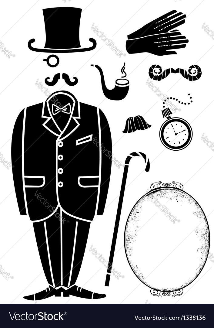 Gentleman retro suit and accessories vector | Price: 1 Credit (USD $1)