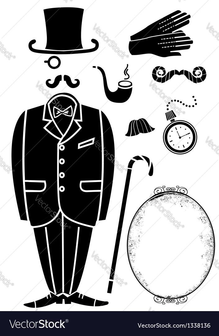 Gentleman retro suit and accessories vector | Price: 1 Credit (USD $1)