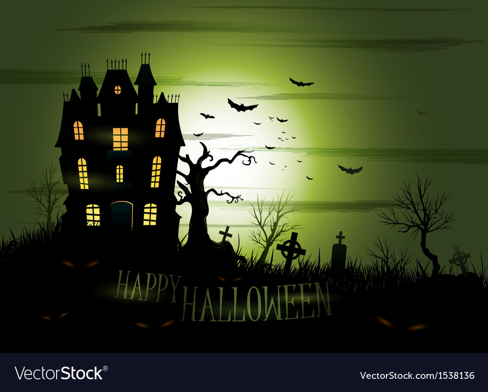 Greeny halloween haunted mansion background vector | Price: 3 Credit (USD $3)