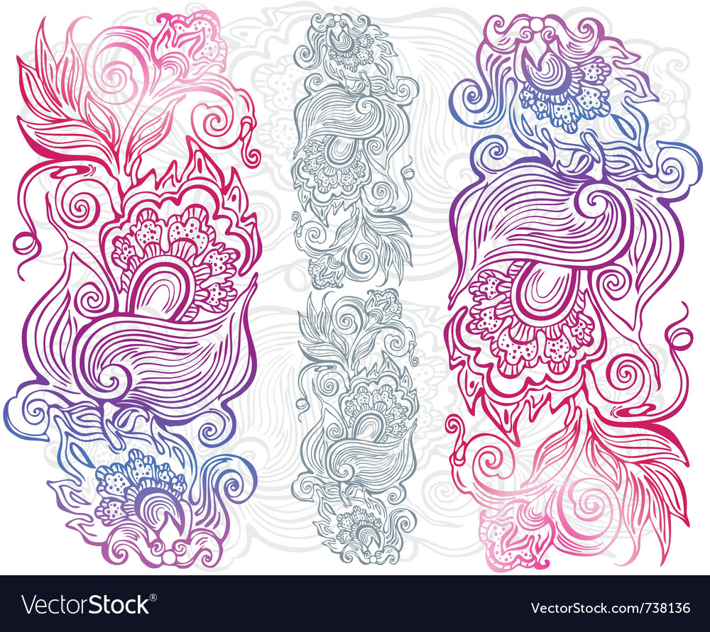 Hand drawn floral ornament vector | Price: 1 Credit (USD $1)