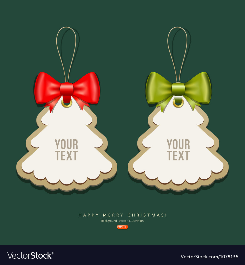 Label paper and ribbons merry christmas design vector | Price: 1 Credit (USD $1)