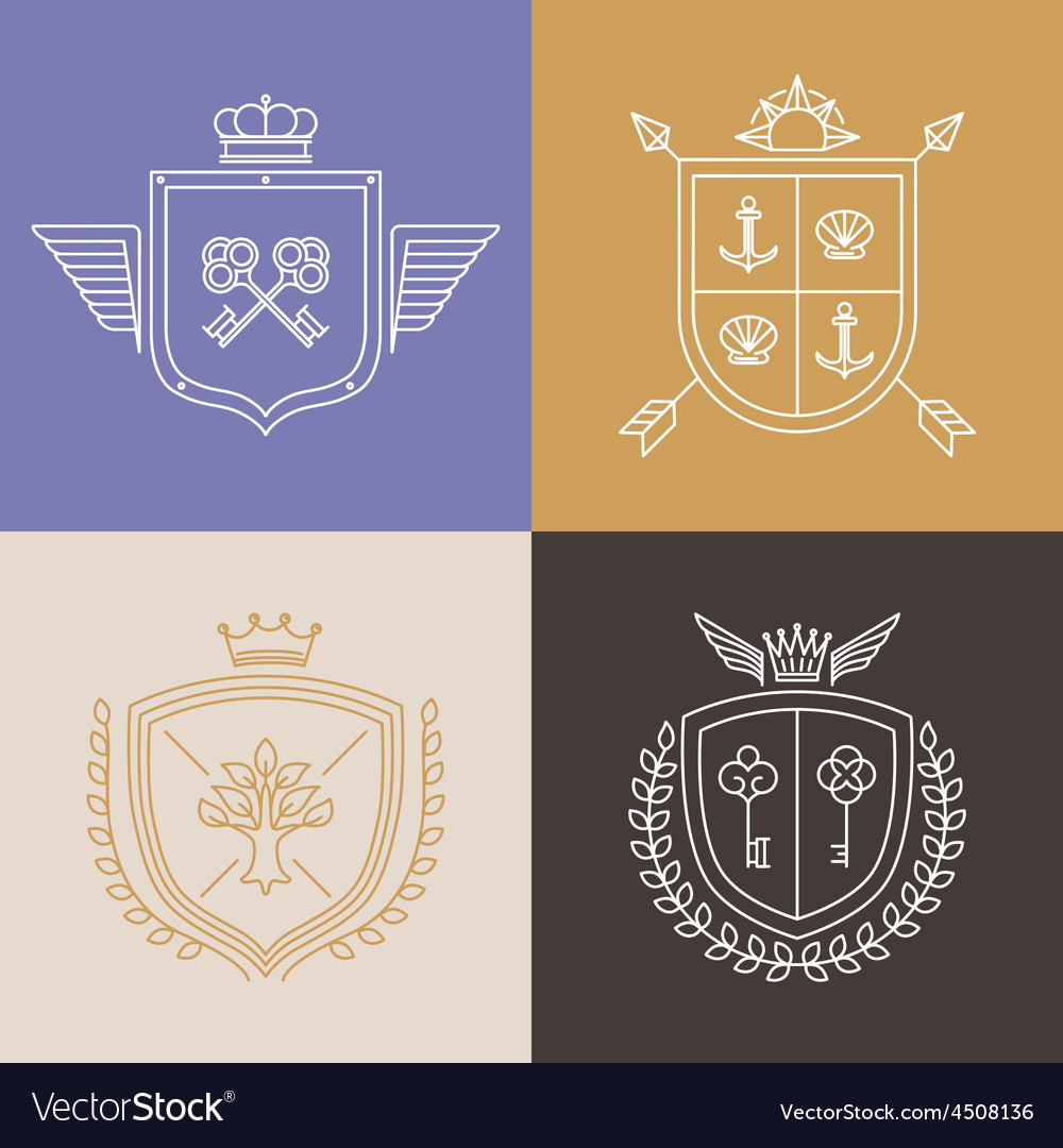 Linear heraldry symbols and design elements vector | Price: 1 Credit (USD $1)