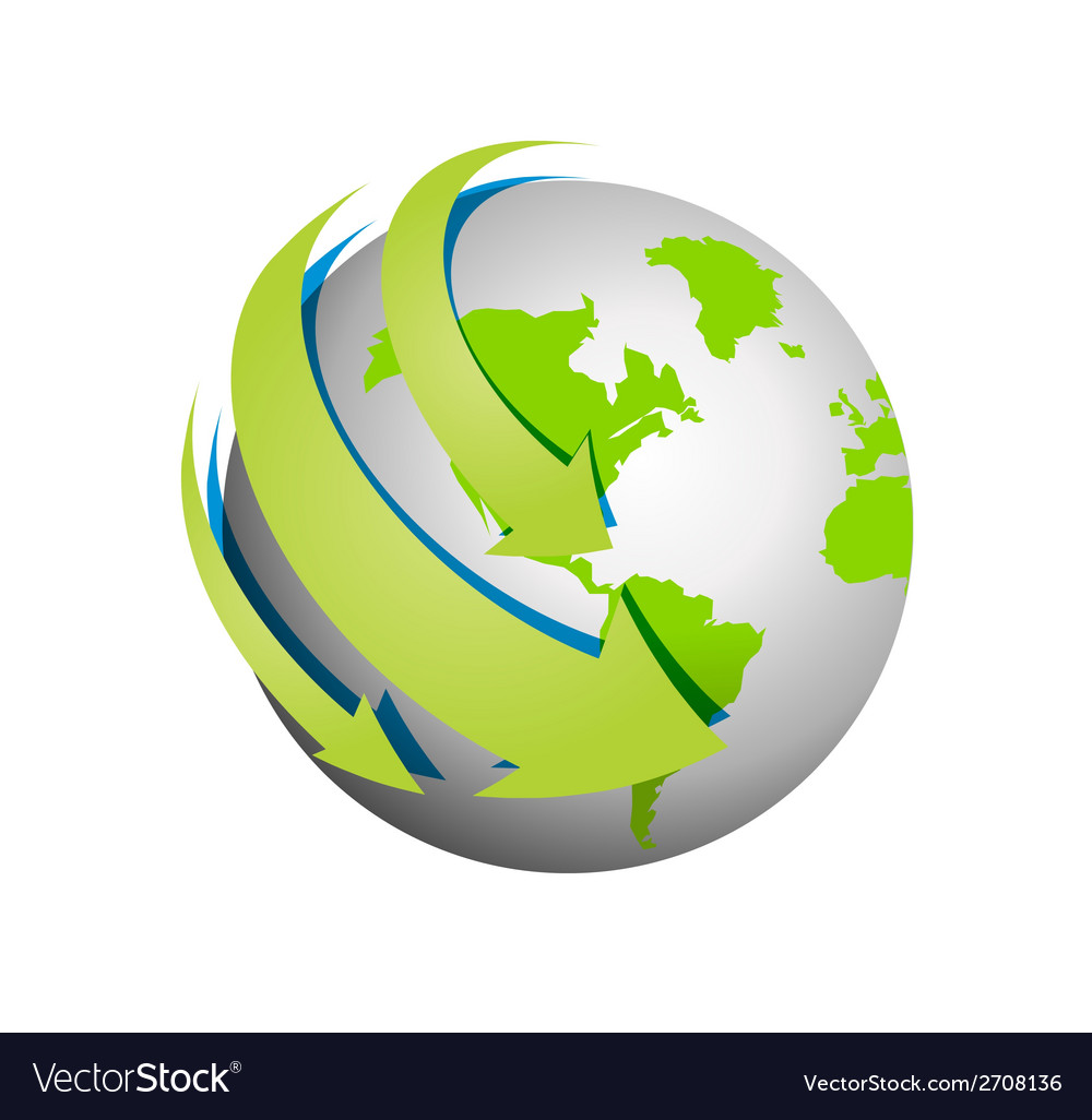 The planet with arrows around in signal communicat vector | Price: 1 Credit (USD $1)