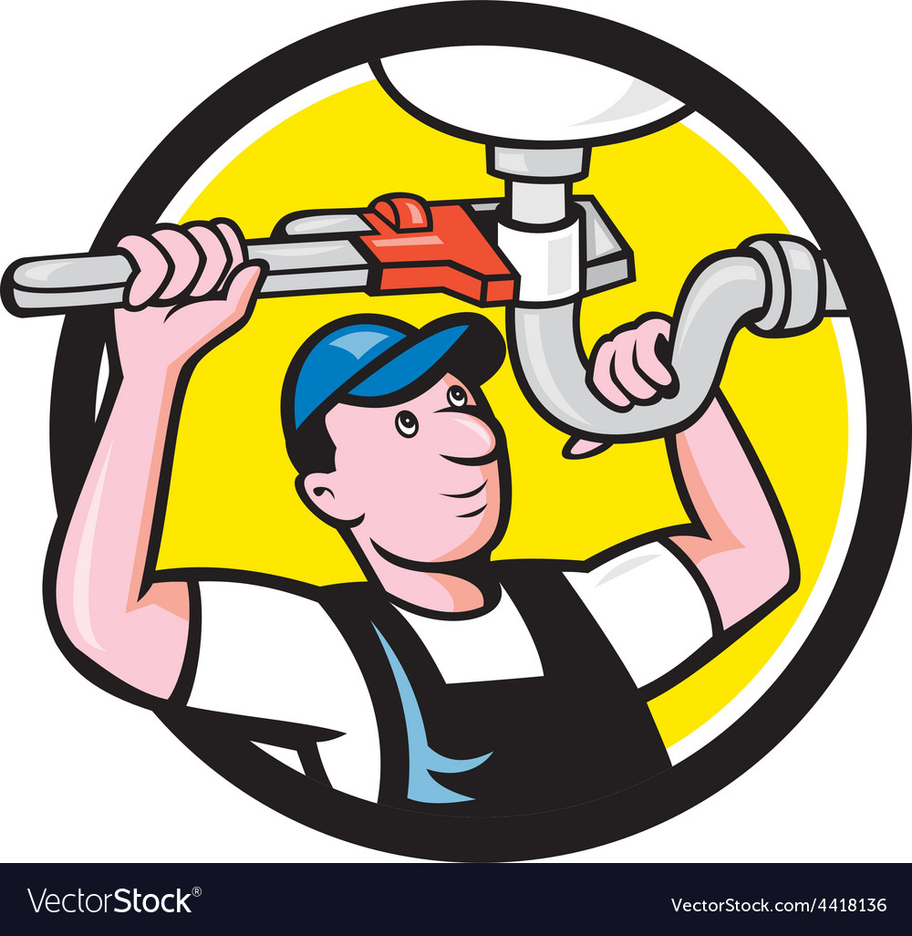 Plumber repairing sink pipe wrench circle cartoon vector | Price: 1 Credit (USD $1)