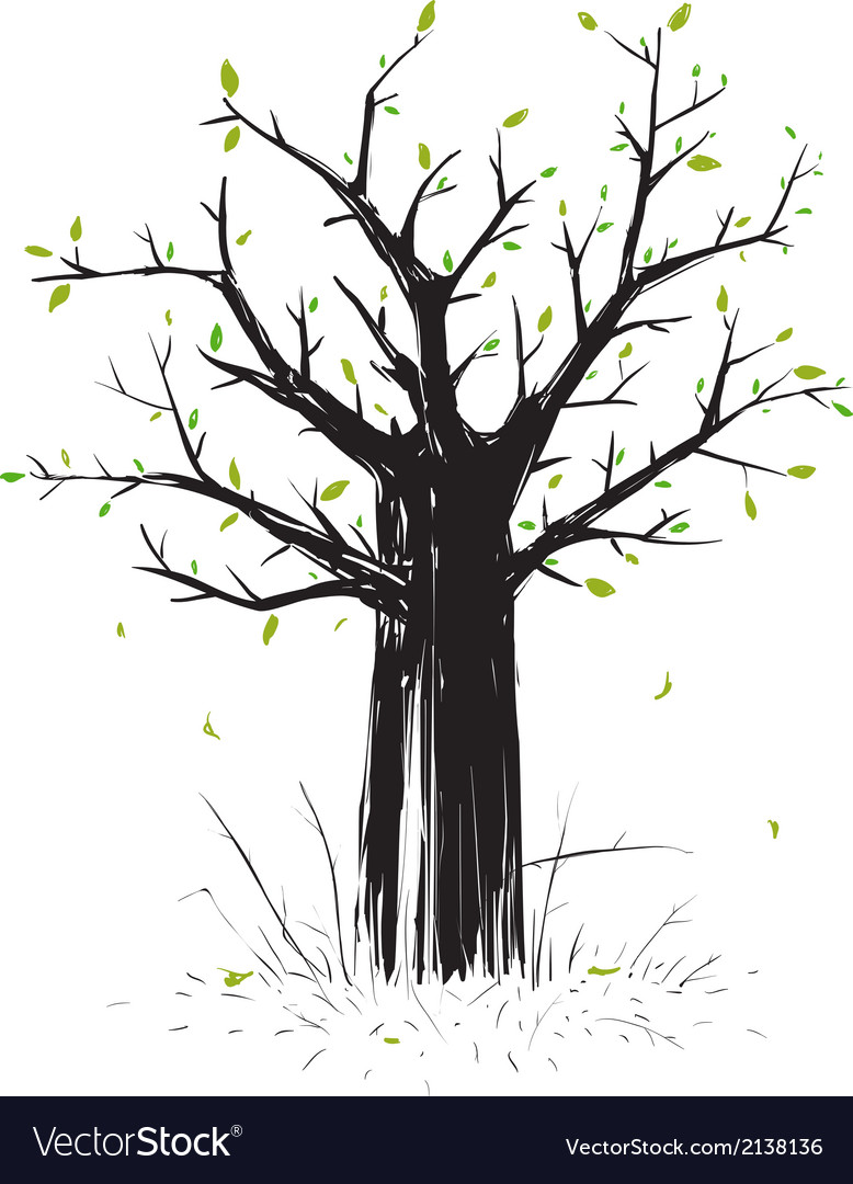 Scratchy scribble tree in black silhouette vector | Price: 1 Credit (USD $1)