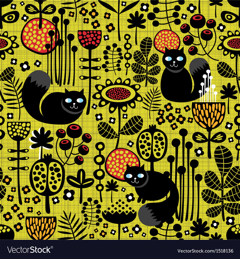Seamless pattern with black cats vector | Price: 1 Credit (USD $1)