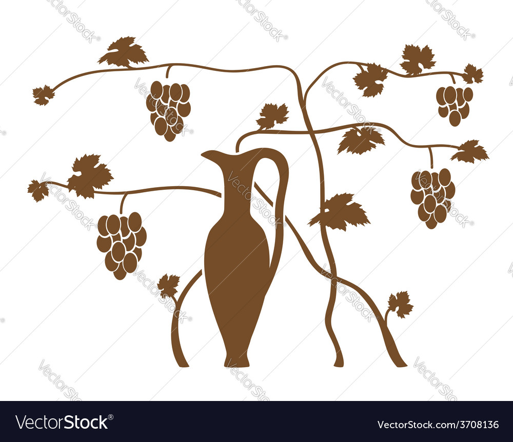 Vine bush with a jug vector | Price: 1 Credit (USD $1)