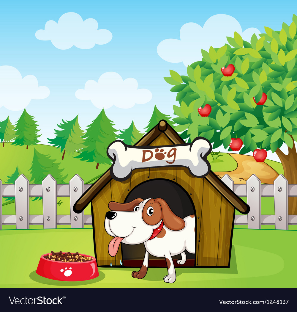A dog inside a doghouse with a dogfood vector | Price: 1 Credit (USD $1)