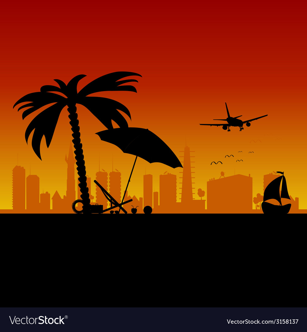 City with boat and beach stuff art vector | Price: 1 Credit (USD $1)