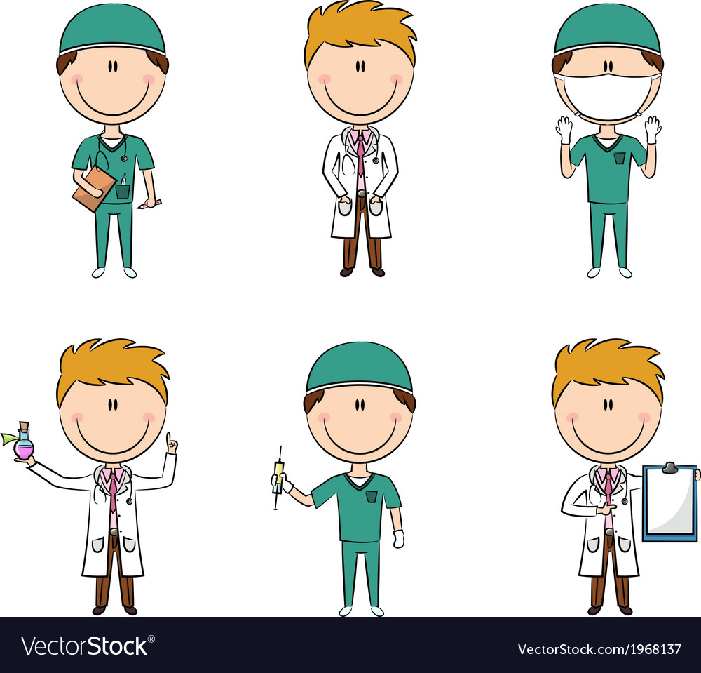 Doctor and health worker characters vector | Price: 1 Credit (USD $1)