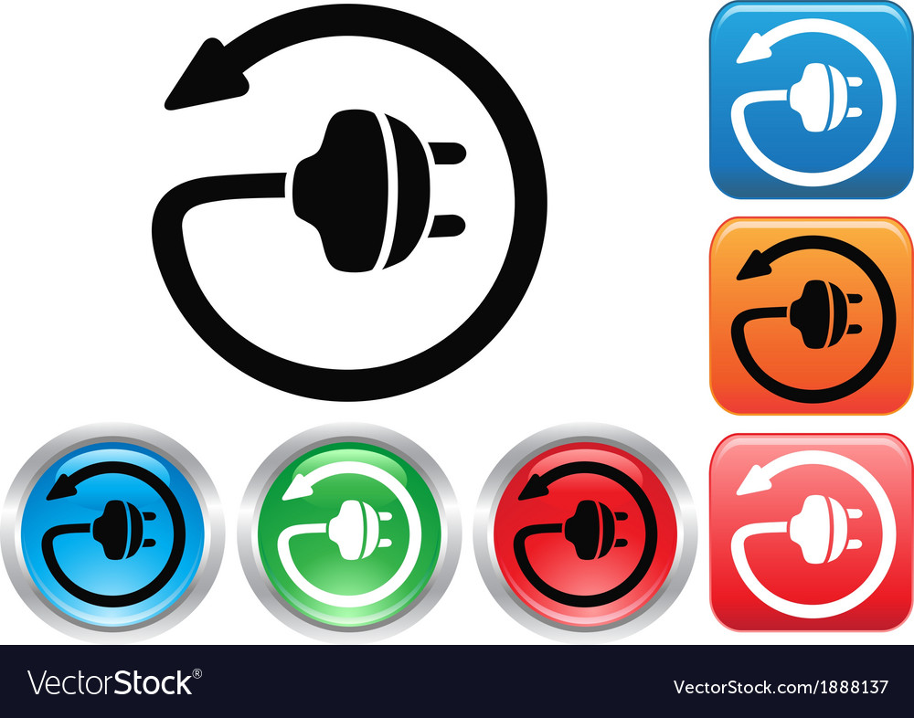 Electric plug button icons set vector | Price: 1 Credit (USD $1)