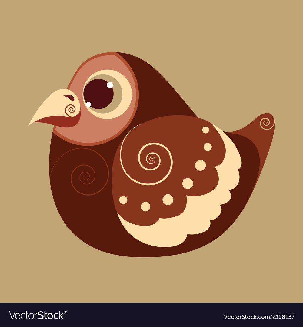 Fat bird cute abstract prehistoric color vector | Price: 1 Credit (USD $1)