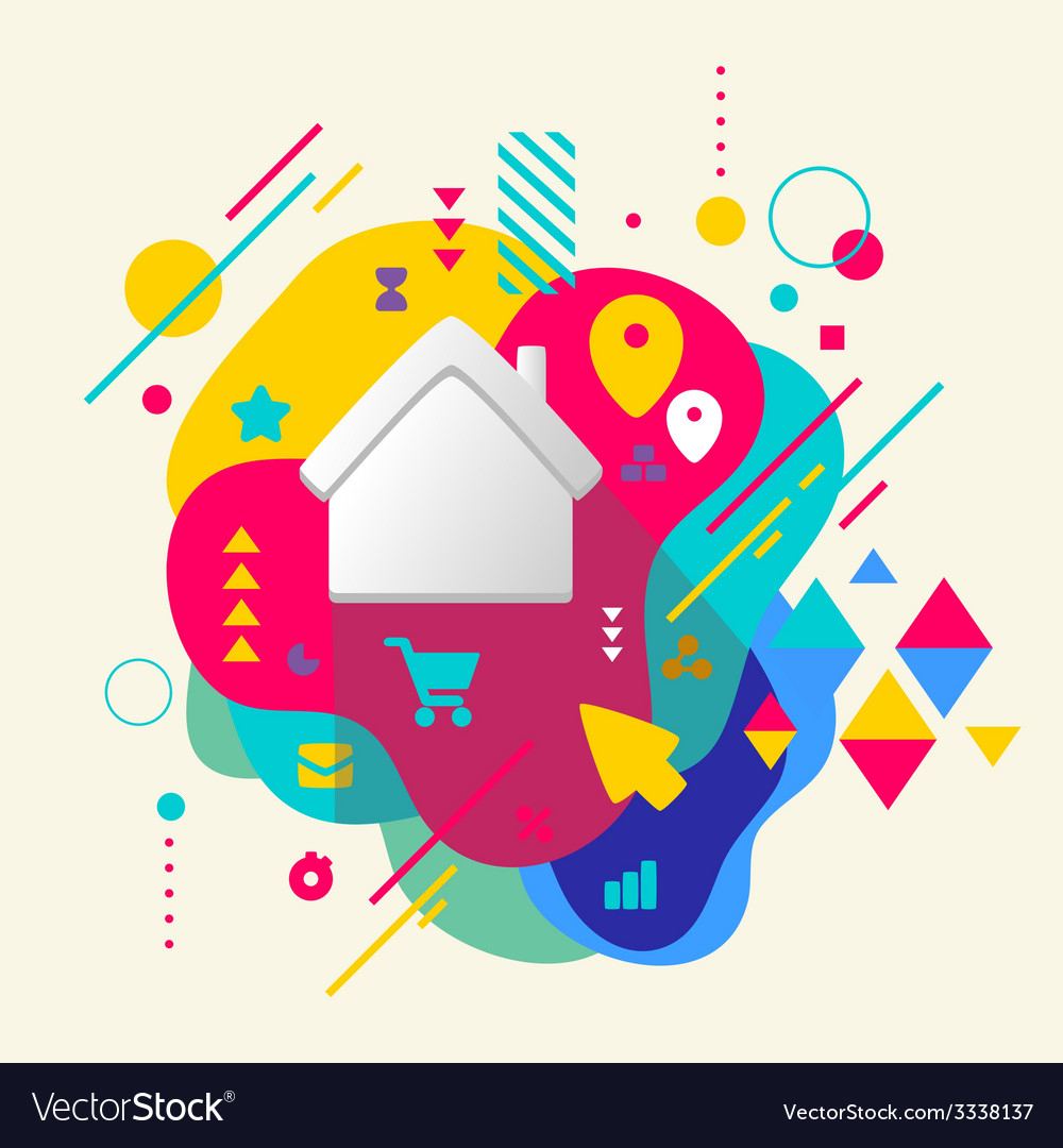 House on abstract colorful spotted background with vector | Price: 3 Credit (USD $3)