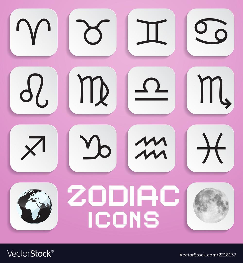 Paper zodiac horoscope square symbols on pink vector   Price: 1 Credit (USD $1)