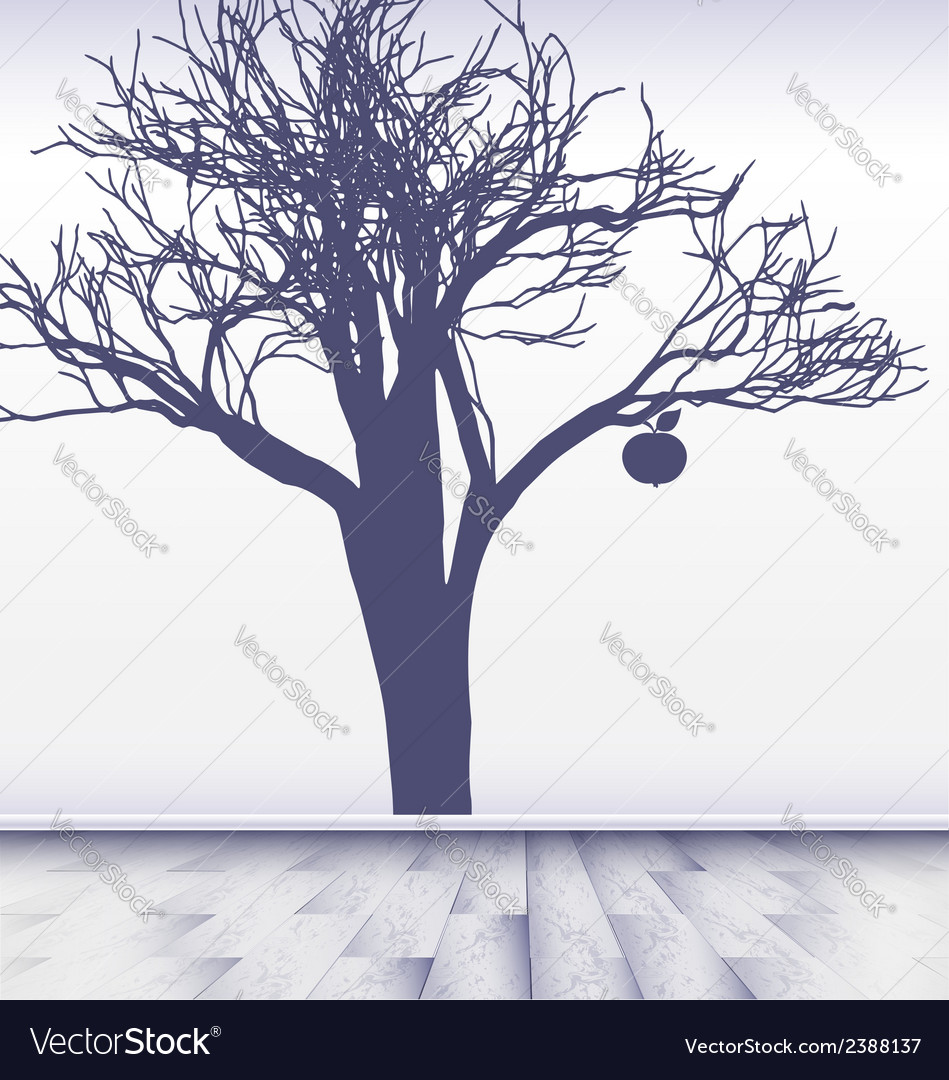 White room with image of apple tree vector | Price: 1 Credit (USD $1)