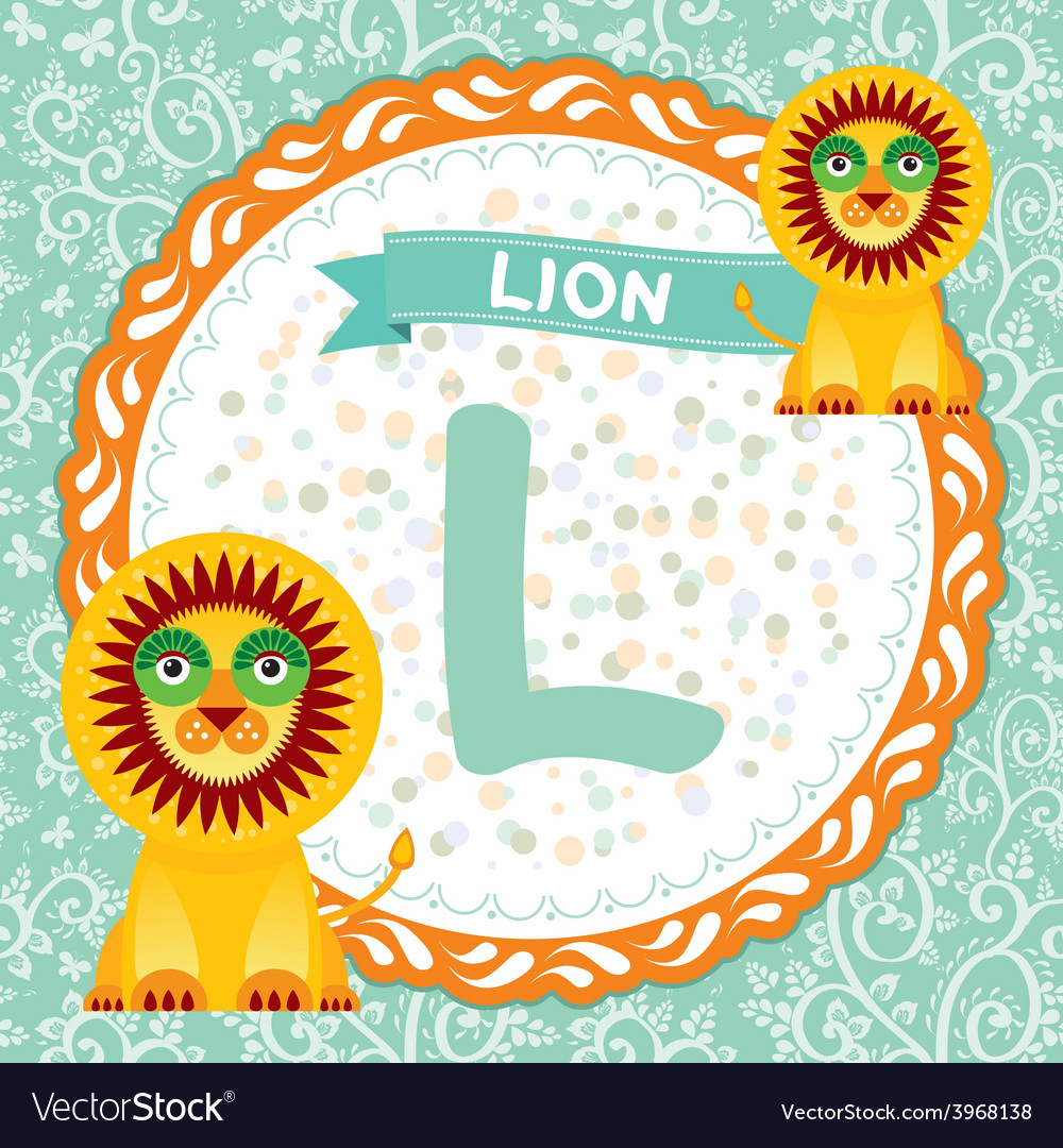 Abc animals l is lion childrens english alphabet vector | Price: 1 Credit (USD $1)
