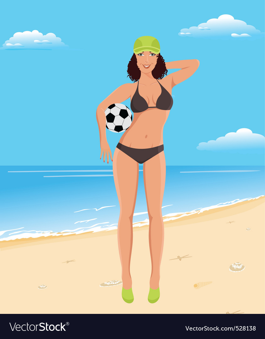 Active girl with ball on beach vector | Price: 1 Credit (USD $1)
